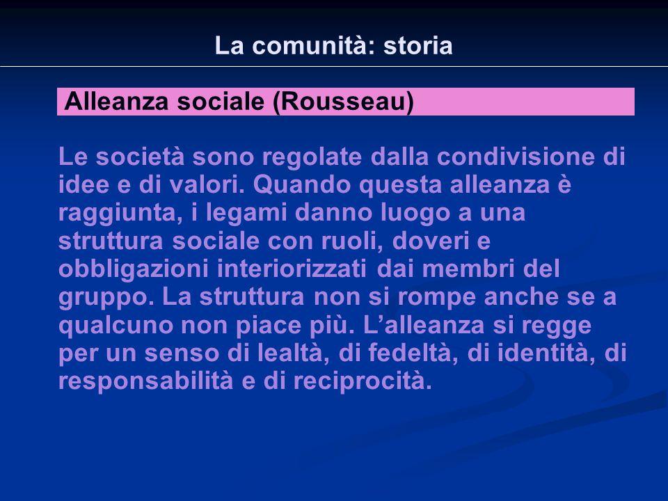 La comunità: storia Alleanza sociale (Rousseau) Le società sono regolate dalla condivisione di idee e di valori. Quando questa alleanza è raggiunta, i