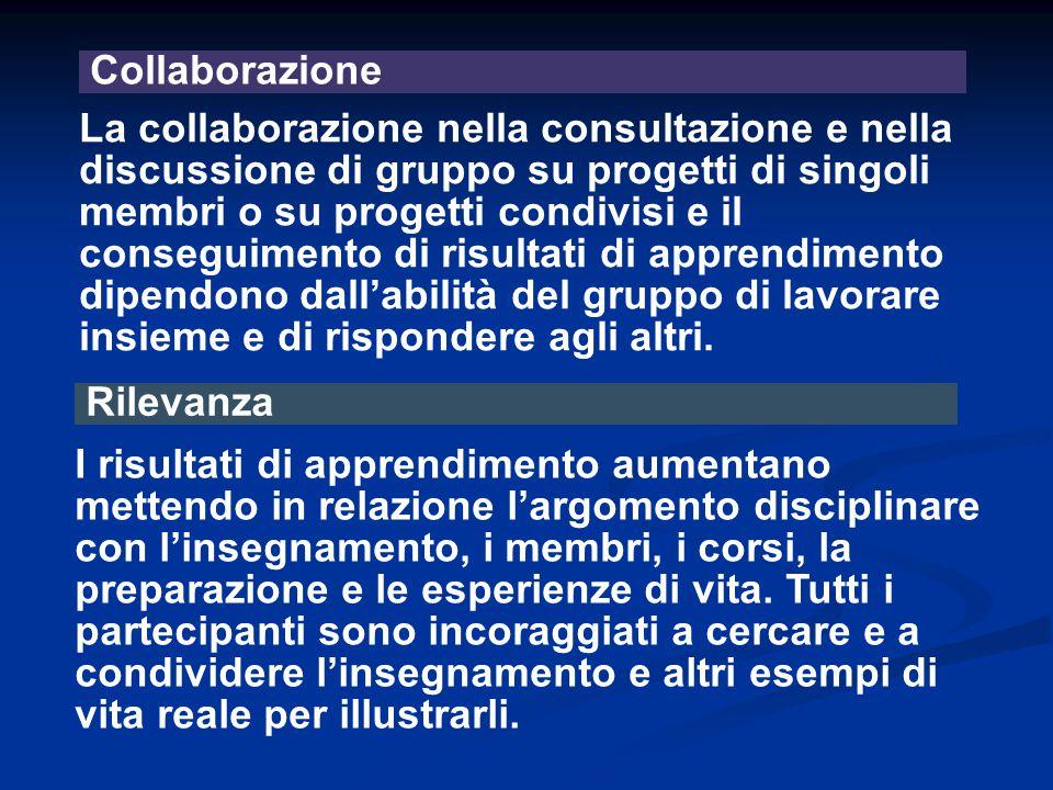 Collaborazione La collaborazione nella consultazione e nella discussione di gruppo su progetti di singoli membri o su progetti condivisi e il consegui