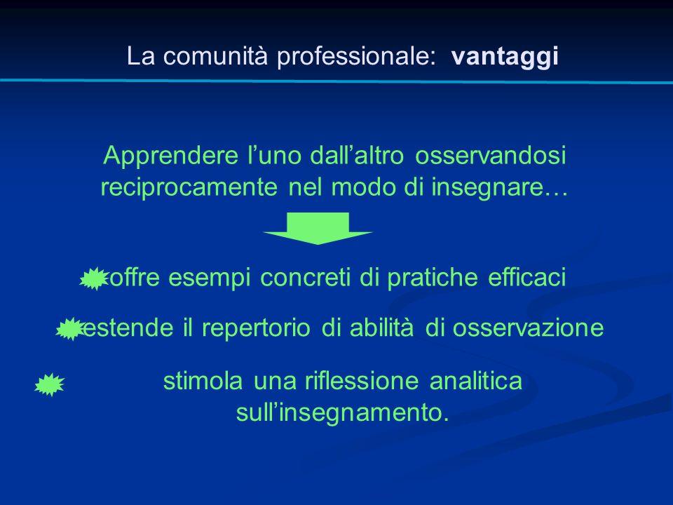 La comunità professionale: vantaggi Apprendere l'uno dall'altro osservandosi reciprocamente nel modo di insegnare… offre esempi concreti di pratiche e
