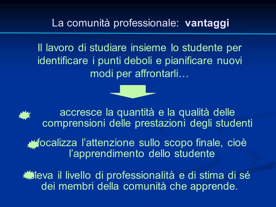 La comunità professionale: vantaggi Il lavoro di studiare insieme lo studente per identificare i punti deboli e pianificare nuovi modi per affrontarli