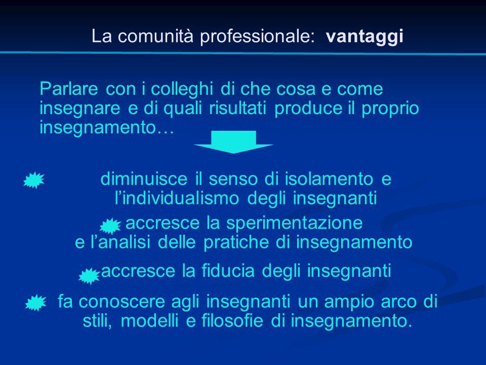 La comunità professionale: vantaggi Parlare con i colleghi di che cosa e come insegnare e di quali risultati produce il proprio insegnamento… diminuis