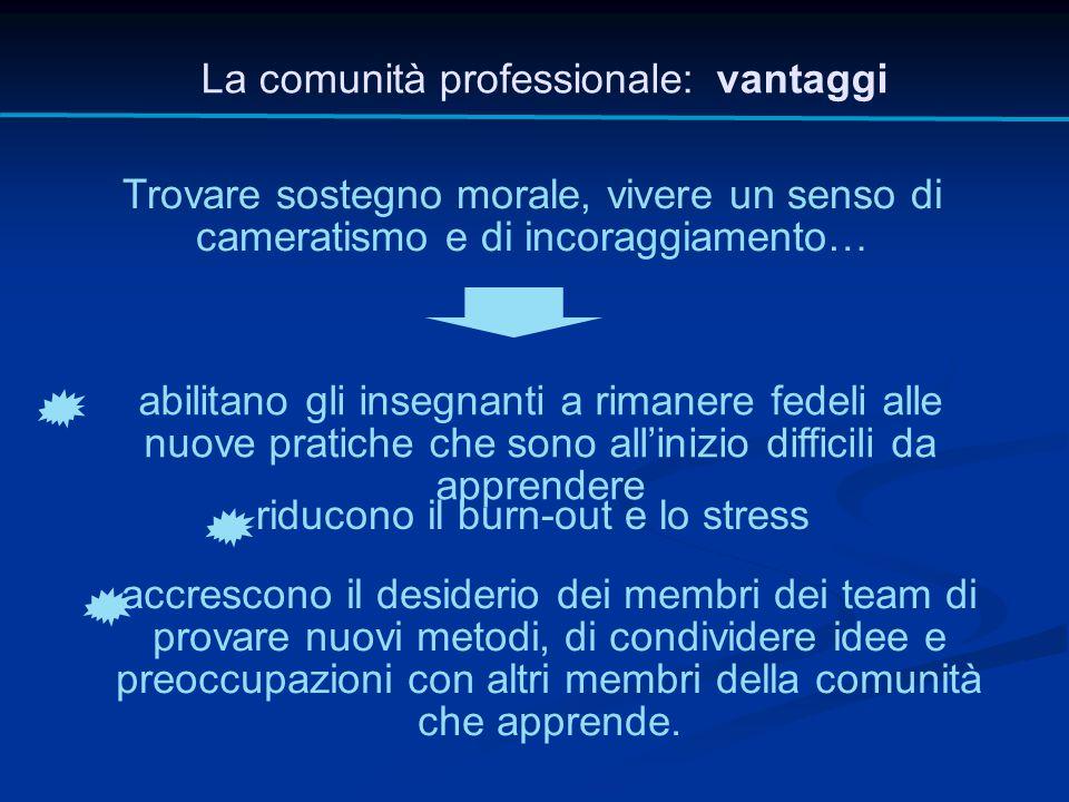 La comunità professionale: vantaggi Trovare sostegno morale, vivere un senso di cameratismo e di incoraggiamento… abilitano gli insegnanti a rimanere