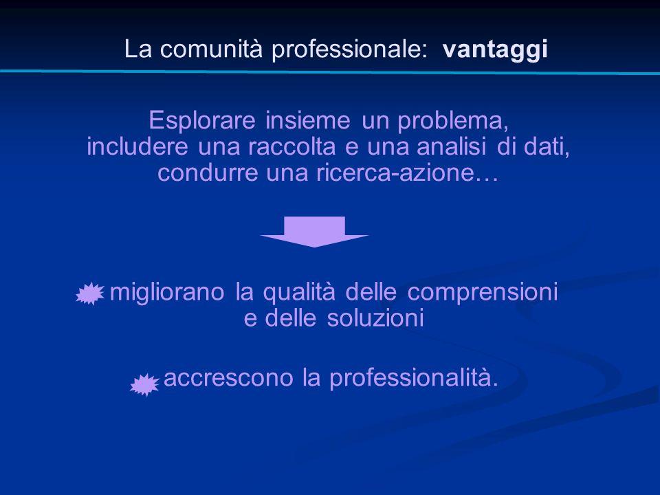 La comunità professionale: vantaggi Esplorare insieme un problema, includere una raccolta e una analisi di dati, condurre una ricerca-azione… migliora