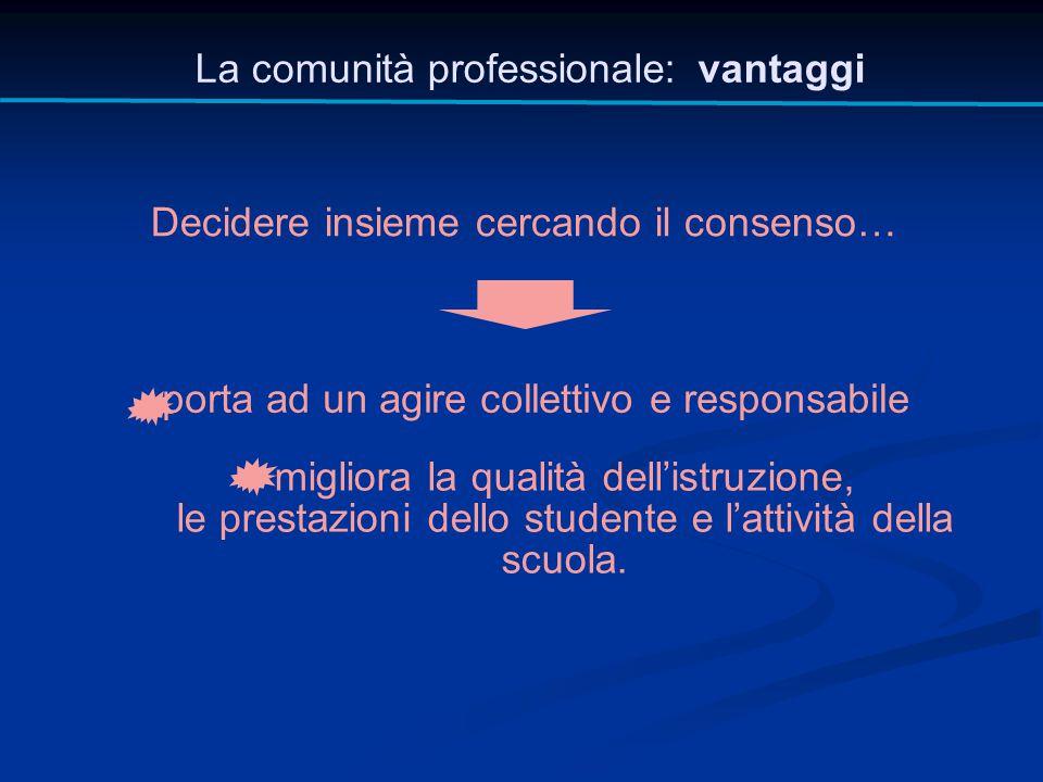 La comunità professionale: vantaggi Decidere insieme cercando il consenso… porta ad un agire collettivo e responsabile migliora la qualità dell'istruz