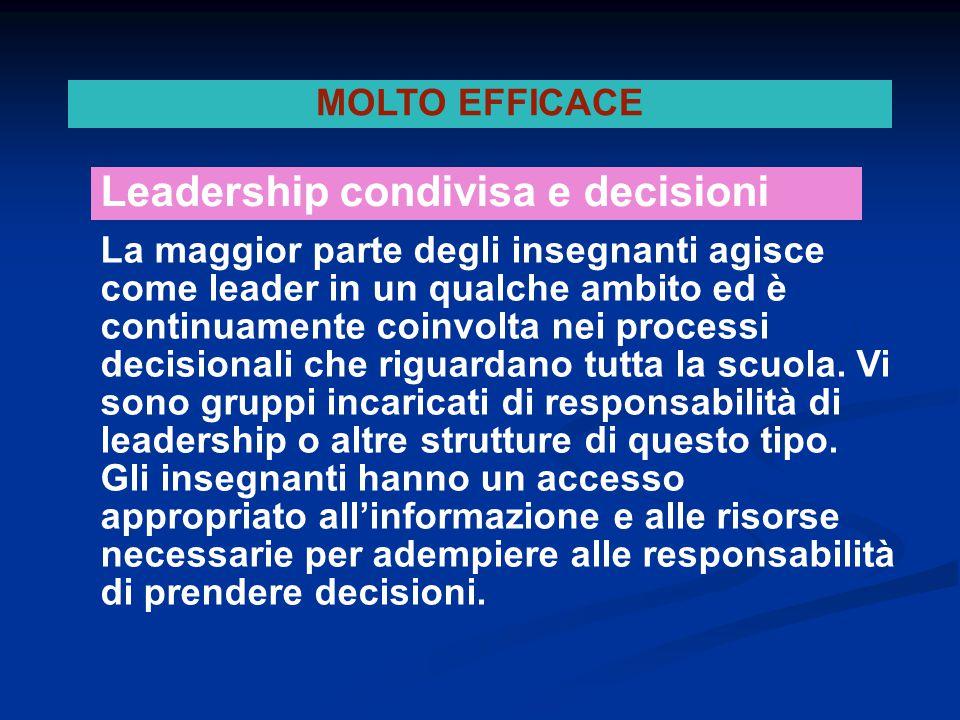 La maggior parte degli insegnanti agisce come leader in un qualche ambito ed è continuamente coinvolta nei processi decisionali che riguardano tutta l