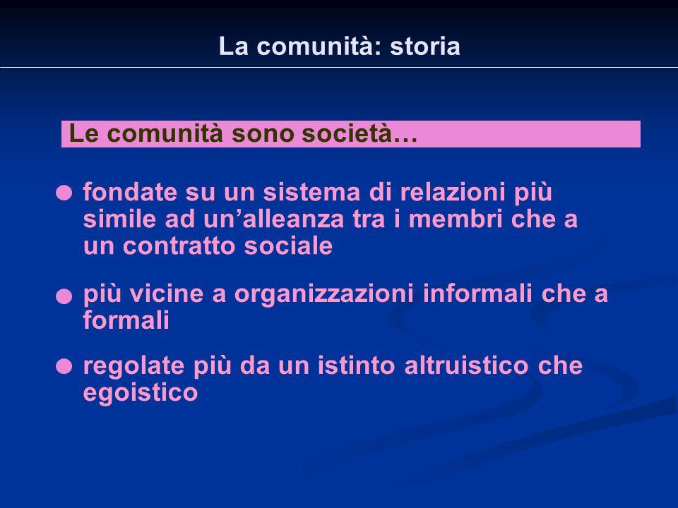 La comunità: storia Le comunità sono società… fondate su un sistema di relazioni più simile ad un'alleanza tra i membri che a un contratto sociale reg