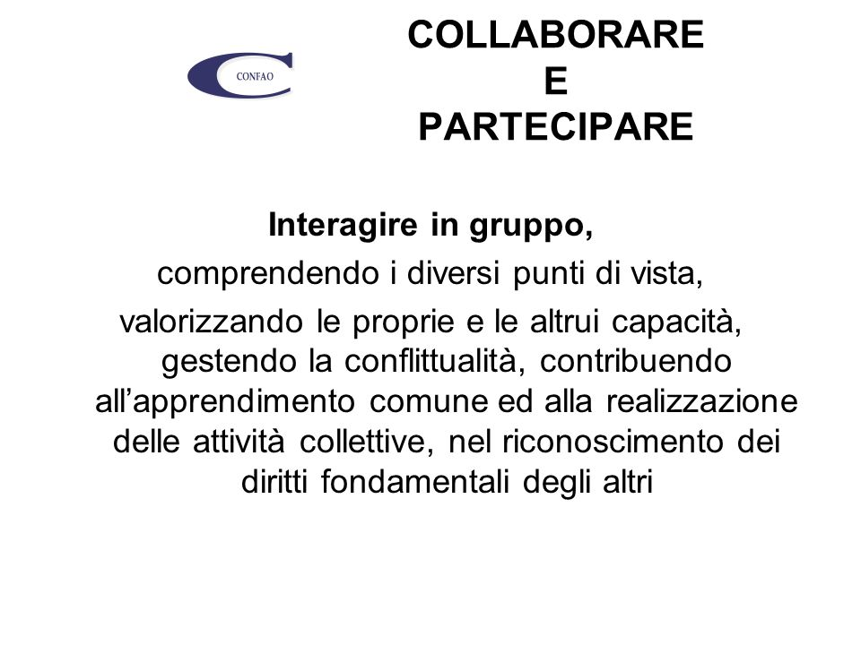 COLLABORARE E PARTECIPARE Interagire in gruppo, comprendendo i diversi punti di vista, valorizzando le proprie e le altrui capacità, gestendo la conflittualità, contribuendo all'apprendimento comune ed alla realizzazione delle attività collettive, nel riconoscimento dei diritti fondamentali degli altri