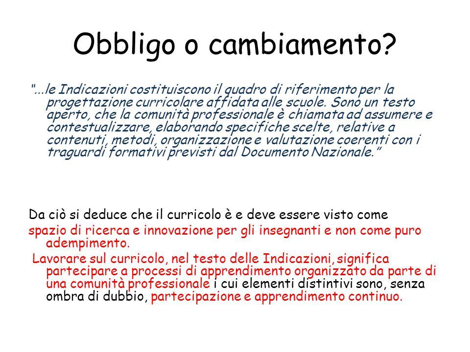 """Obbligo o cambiamento? """"...le Indicazioni costituiscono il quadro di riferimento per la progettazione curricolare affidata alle scuole. Sono un testo"""
