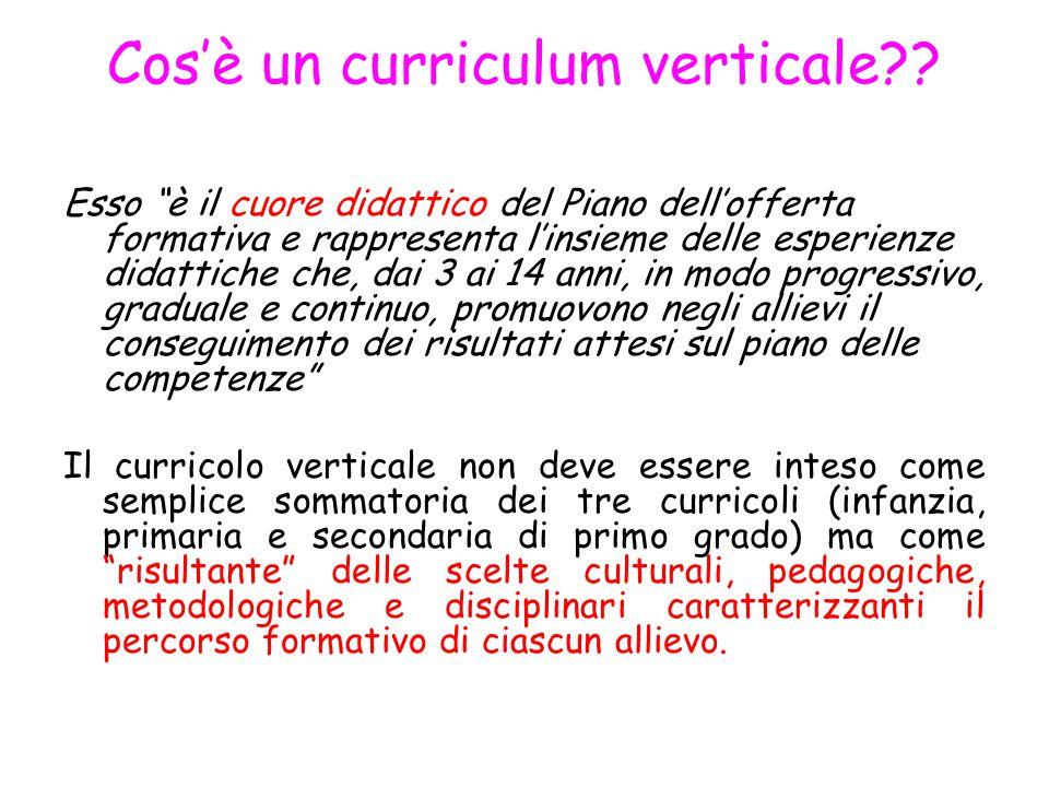 """Cos'è un curriculum verticale?? Esso """"è il cuore didattico del Piano dell'offerta formativa e rappresenta l'insieme delle esperienze didattiche che, d"""
