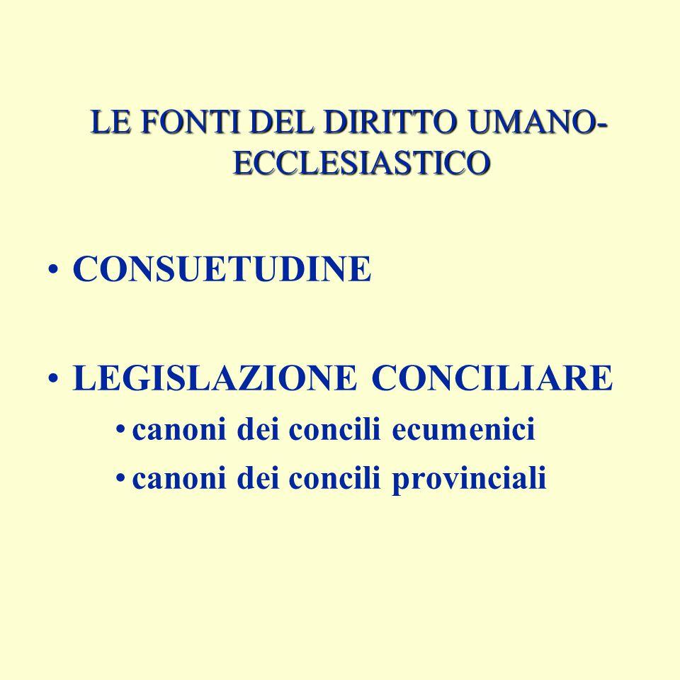 LE FONTI DEL DIRITTO UMANO- ECCLESIASTICO CONSUETUDINE LEGISLAZIONE CONCILIARE canoni dei concili ecumenici canoni dei concili provinciali