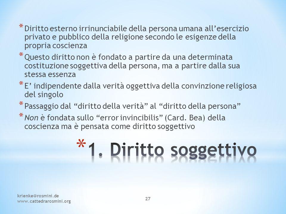 krienke@rosmini.de www.cattedrarosmini.org 27 * Diritto esterno irrinunciabile della persona umana all'esercizio privato e pubblico della religione se