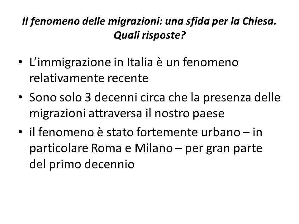 Il fenomeno delle migrazioni: una sfida per la Chiesa. Quali risposte? L'immigrazione in Italia è un fenomeno relativamente recente Sono solo 3 decenn