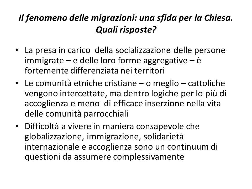 Il fenomeno delle migrazioni: una sfida per la Chiesa. Quali risposte? La presa in carico della socializzazione delle persone immigrate – e delle loro