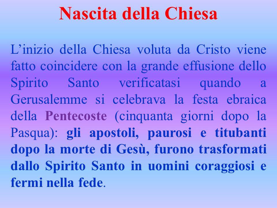 Nascita della Chiesa L'inizio della Chiesa voluta da Cristo viene fatto coincidere con la grande effusione dello Spirito Santo verificatasi quando a G
