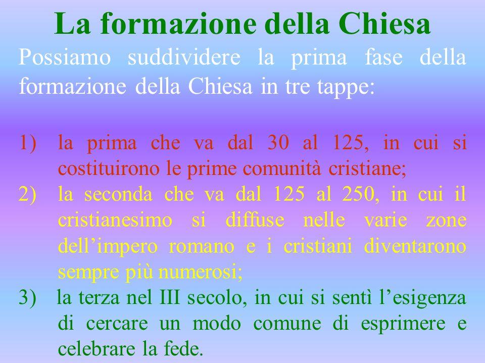 La formazione della Chiesa Possiamo suddividere la prima fase della formazione della Chiesa in tre tappe: 1)la prima che va dal 30 al 125, in cui si c