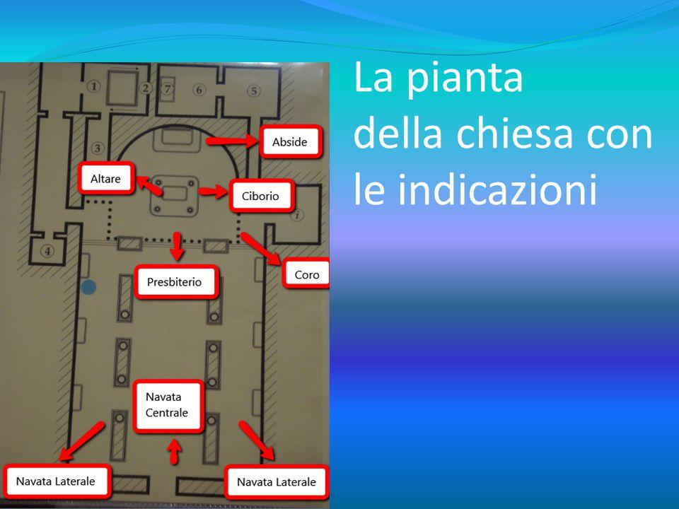 La pianta della chiesa con le indicazioni