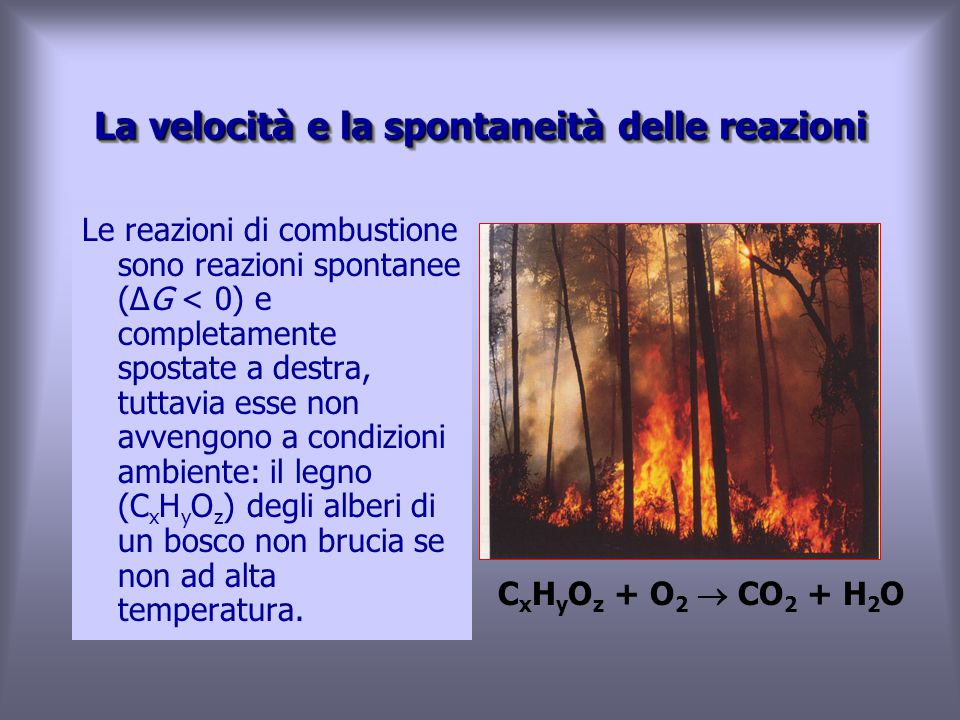 La velocità e la spontaneità delle reazioni Le reazioni di combustione sono reazioni spontanee (ΔG < 0) e completamente spostate a destra, tuttavia esse non avvengono a condizioni ambiente: il legno (C x H y O z ) degli alberi di un bosco non brucia se non ad alta temperatura.