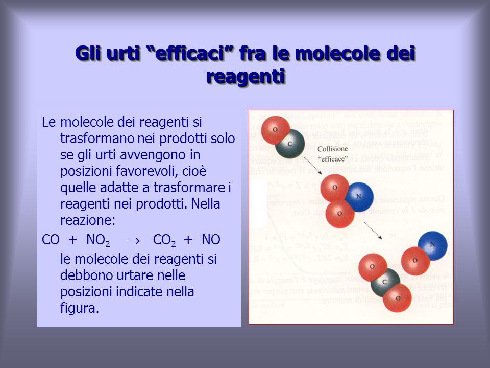 Le molecole dei reagenti si trasformano nei prodotti solo se gli urti avvengono in posizioni favorevoli, cioè quelle adatte a trasformare i reagenti nei prodotti.