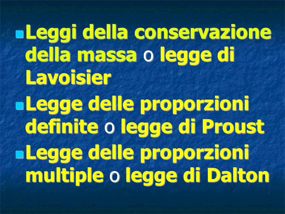 Leggi della conservazione della massa o legge di Lavoisier Legge delle proporzioni definite o legge di Proust Legge delle proporzioni multiple o legge