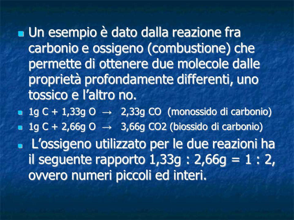 Un esempio è dato dalla reazione fra carbonio e ossigeno (combustione) che permette di ottenere due molecole dalle proprietà profondamente differenti,