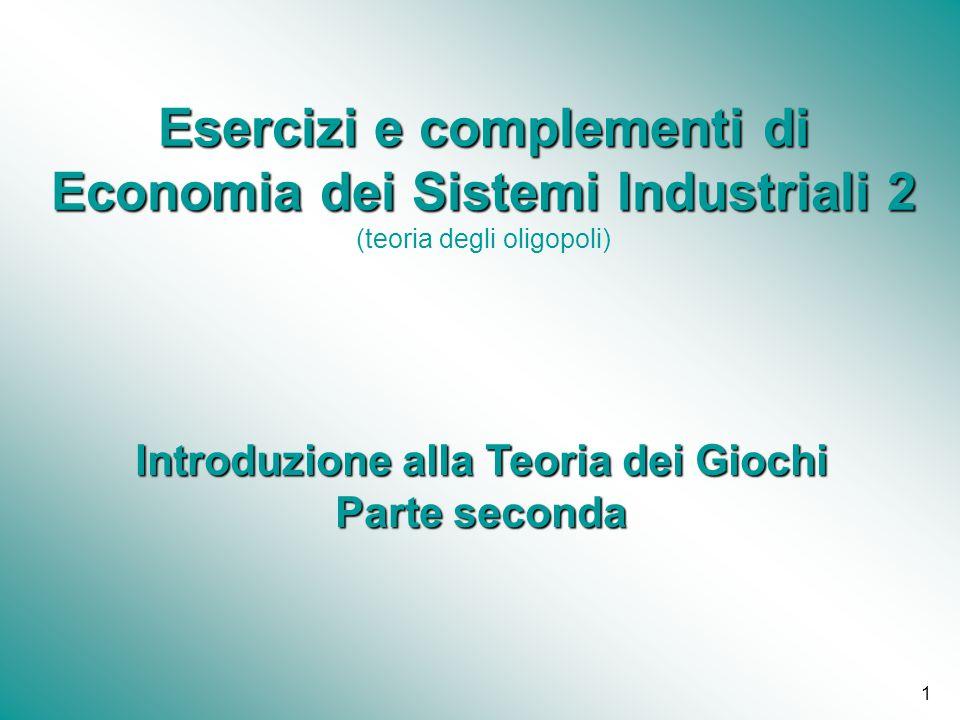 1 Esercizi e complementi di Economia dei Sistemi Industriali 2 Esercizi e complementi di Economia dei Sistemi Industriali 2 (teoria degli oligopoli) I