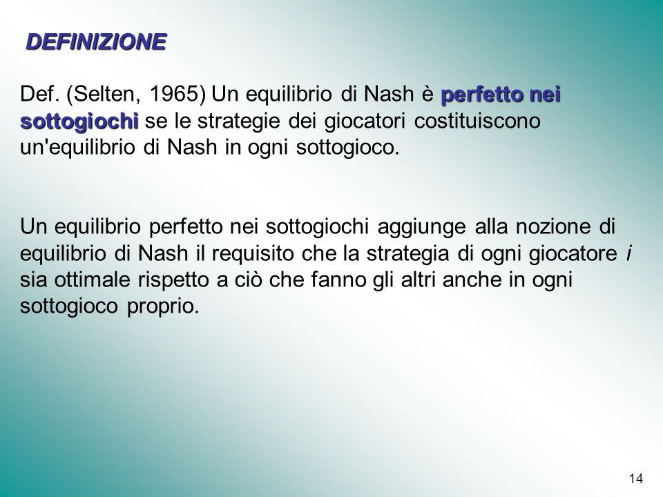 14 perfetto nei sottogiochi Def. (Selten, 1965) Un equilibrio di Nash è perfetto nei sottogiochi se le strategie dei giocatori costituiscono un'equili