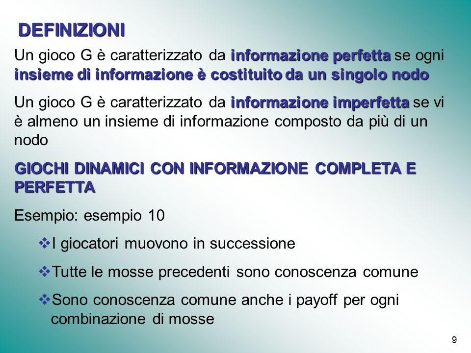 9 informazione perfetta insieme di informazione è costituito da un singolo nodo Un gioco G è caratterizzato da informazione perfetta se ogni insieme d
