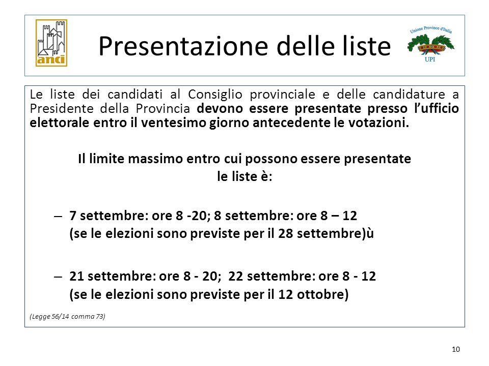 10 Presentazione delle liste Le liste dei candidati al Consiglio provinciale e delle candidature a Presidente della Provincia devono essere presentate