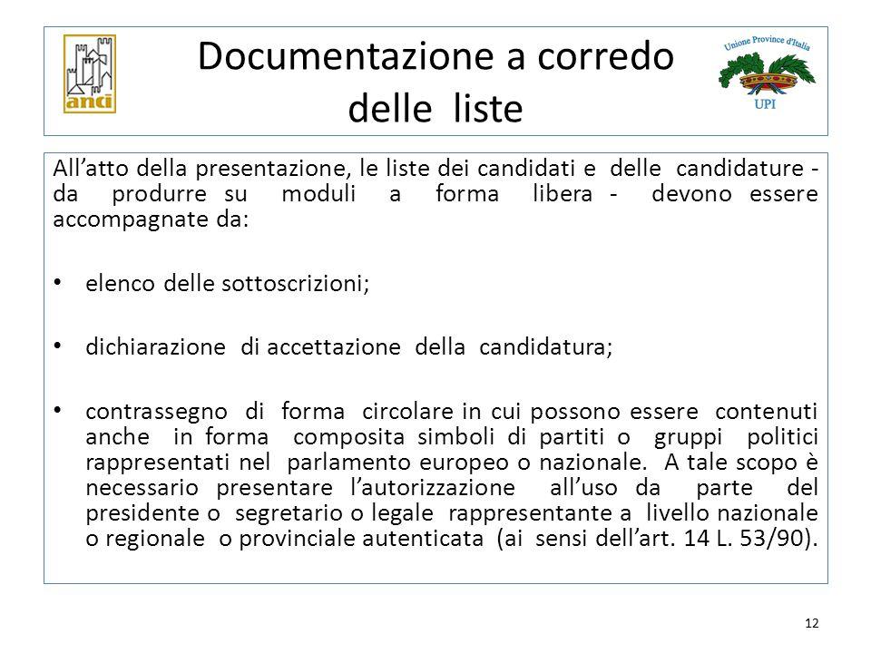 12 Documentazione a corredo delle liste All'atto della presentazione, le liste dei candidati e delle candidature - da produrre su moduli a forma liber