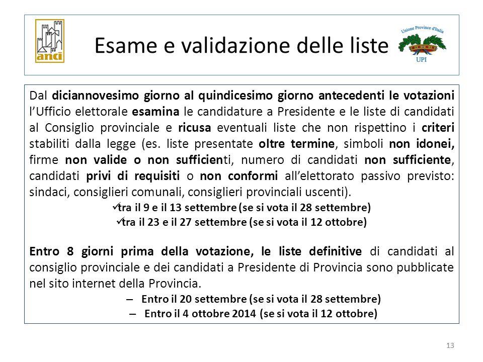 13 Esame e validazione delle liste Dal diciannovesimo giorno al quindicesimo giorno antecedenti le votazioni l'Ufficio elettorale esamina le candidatu