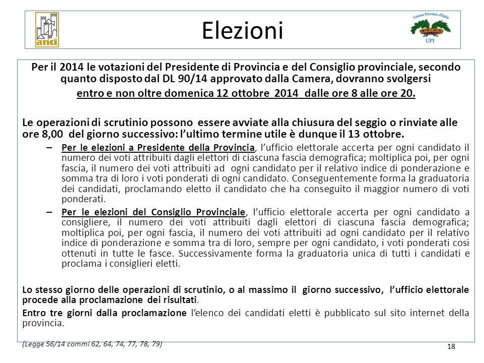 18 Elezioni Per il 2014 le votazioni del Presidente di Provincia e del Consiglio provinciale, secondo quanto disposto dal DL 90/14 approvato dalla Cam
