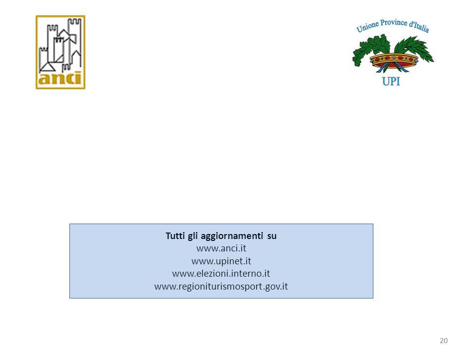 20 Tutti gli aggiornamenti su www.anci.it www.upinet.it www.elezioni.interno.it www.regioniturismosport.gov.it 20