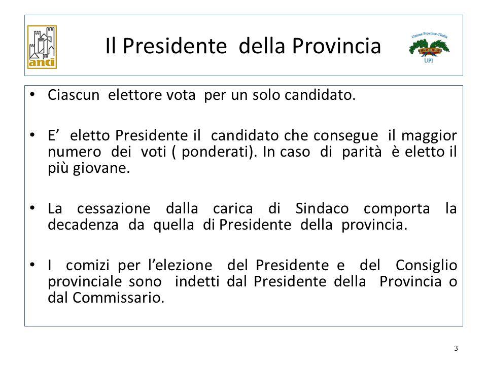 3 Il Presidente della Provincia Ciascun elettore vota per un solo candidato. E' eletto Presidente il candidato che consegue il maggior numero dei voti