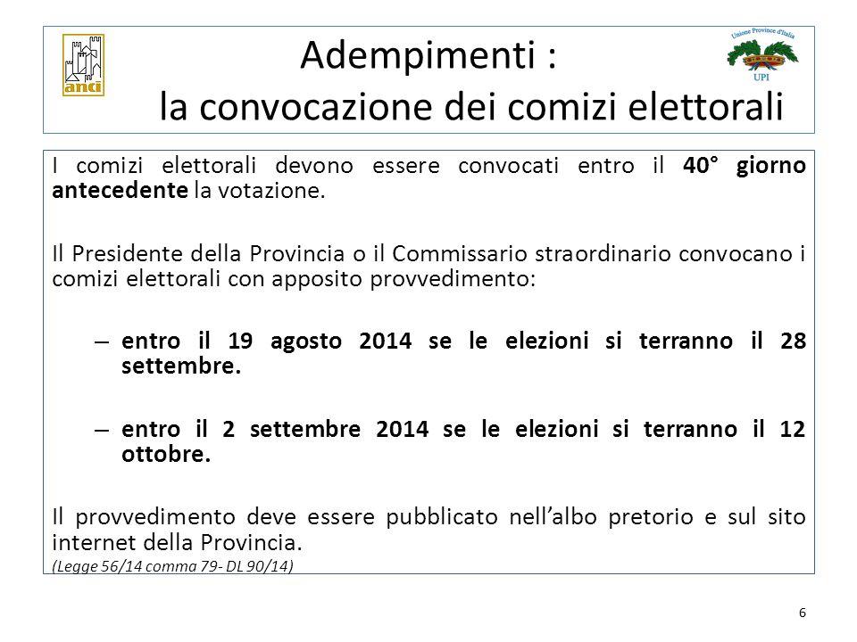 6 Adempimenti : la convocazione dei comizi elettorali I comizi elettorali devono essere convocati entro il 40° giorno antecedente la votazione. Il Pre
