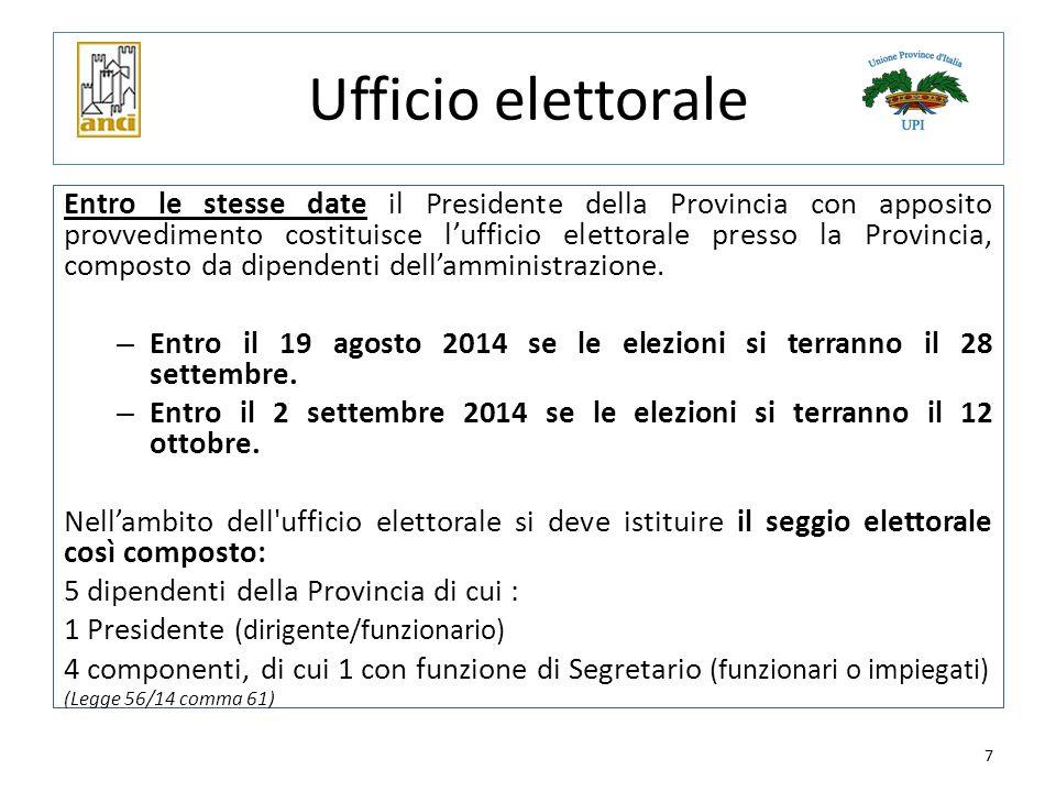 7 Ufficio elettorale Entro le stesse date il Presidente della Provincia con apposito provvedimento costituisce l'ufficio elettorale presso la Provinci