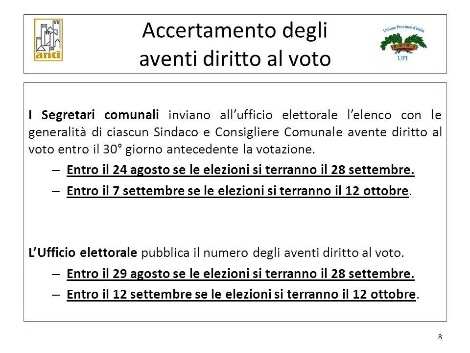 8 Accertamento degli aventi diritto al voto I Segretari comunali inviano all'ufficio elettorale l'elenco con le generalità di ciascun Sindaco e Consig