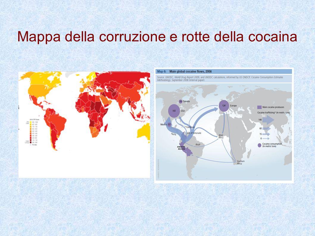 Mappa della corruzione e rotte della cocaina