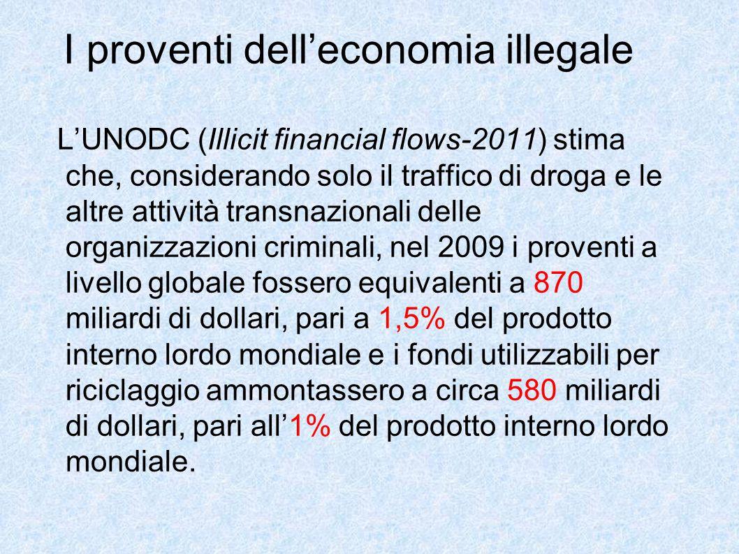 I proventi dell'economia illegale L'UNODC (Illicit financial flows-2011) stima che, considerando solo il traffico di droga e le altre attività transna