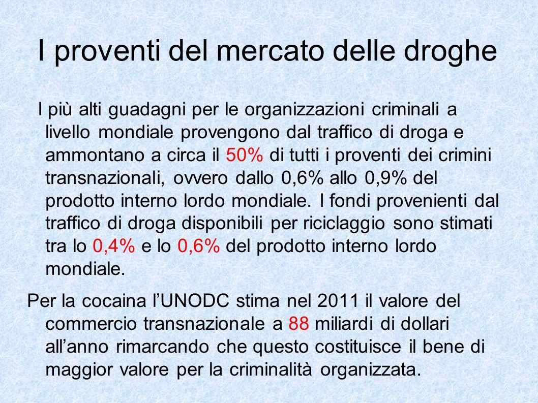 I proventi del mercato delle droghe I più alti guadagni per le organizzazioni criminali a livello mondiale provengono dal traffico di droga e ammontan