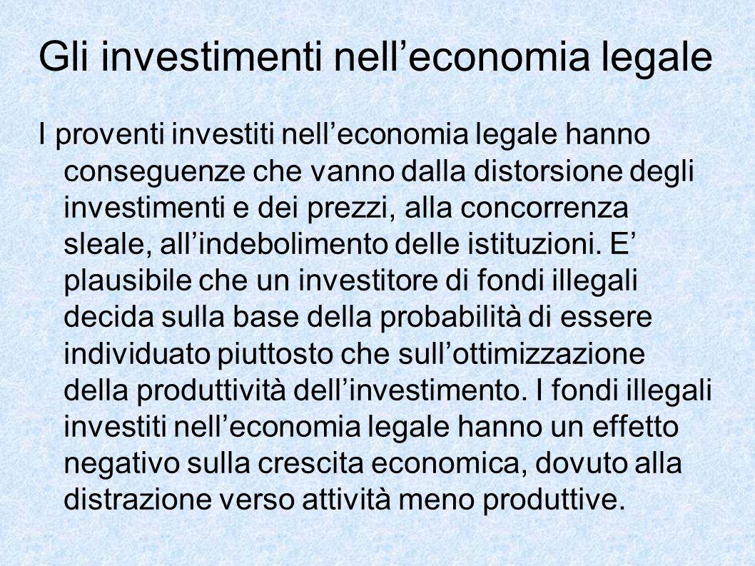Gli investimenti nell'economia legale I proventi investiti nell'economia legale hanno conseguenze che vanno dalla distorsione degli investimenti e dei