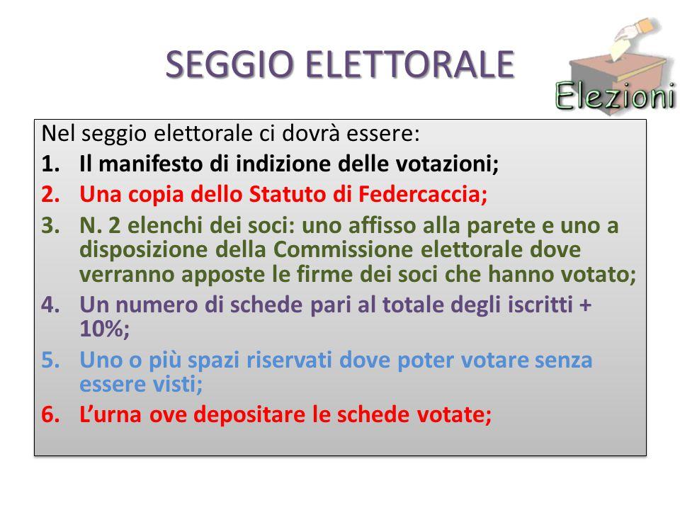 SEGGIO ELETTORALE Nel seggio elettorale ci dovrà essere: 1.Il manifesto di indizione delle votazioni; 2.Una copia dello Statuto di Federcaccia; 3.N.