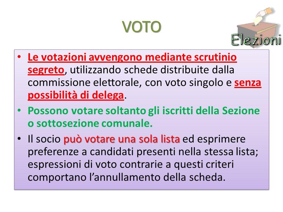VOTO Le votazioni avvengono mediante scrutinio segreto, utilizzando schede distribuite dalla commissione elettorale, con voto singolo e senza possibilità di delega.