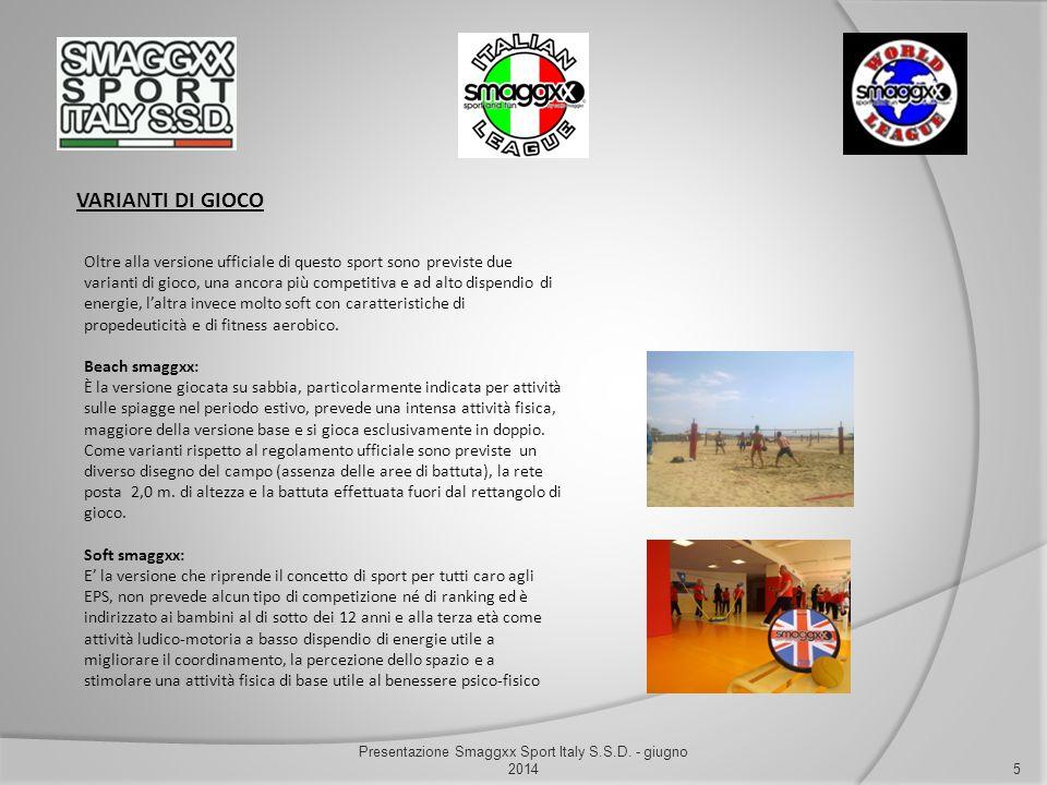 VARIANTI DI GIOCO 5 Presentazione Smaggxx Sport Italy S.S.D. - giugno 2014 Oltre alla versione ufficiale di questo sport sono previste due varianti di