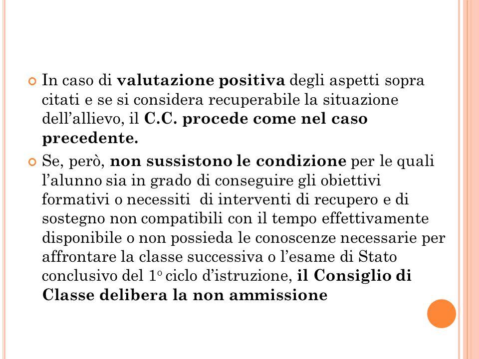 In caso di valutazione positiva degli aspetti sopra citati e se si considera recuperabile la situazione dell'allievo, il C.C.