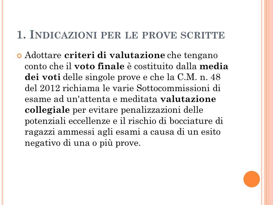 1. I NDICAZIONI PER LE PROVE SCRITTE Adottare criteri di valutazione che tengano conto che il voto finale è costituito dalla media dei voti delle sing