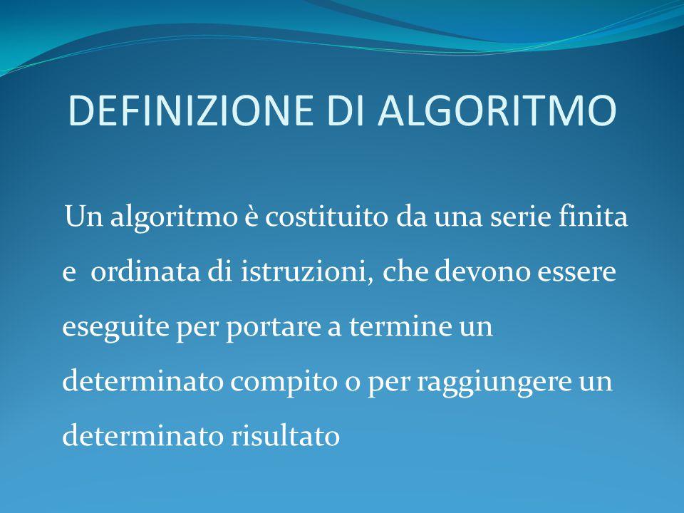 DEFINIZIONE DI ALGORITMO Un algoritmo è costituito da una serie finita e ordinata di istruzioni, che devono essere eseguite per portare a termine un d