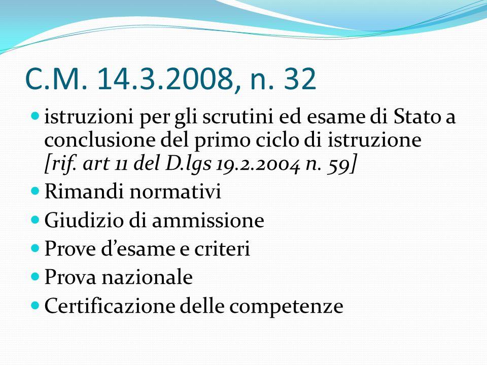 C.M. 14.3.2008, n. 32 istruzioni per gli scrutini ed esame di Stato a conclusione del primo ciclo di istruzione [rif. art 11 del D.lgs 19.2.2004 n. 59