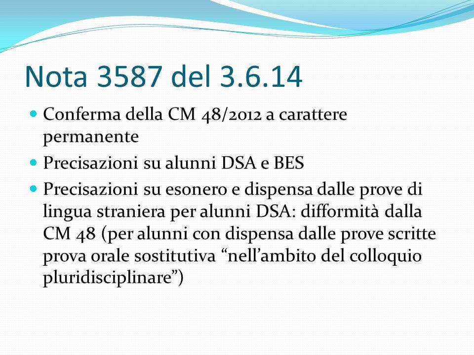 Nota 3587 del 3.6.14 Conferma della CM 48/2012 a carattere permanente Precisazioni su alunni DSA e BES Precisazioni su esonero e dispensa dalle prove