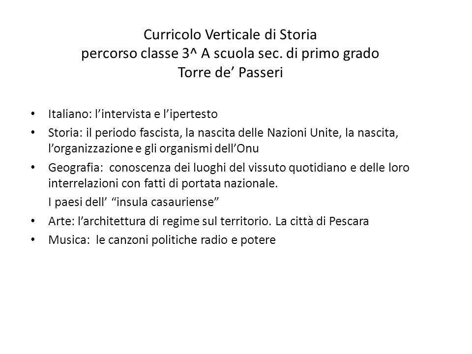 Italiano: l'intervista e l'ipertesto Storia: il periodo fascista, la nascita delle Nazioni Unite, la nascita, l'organizzazione e gli organismi dell'On