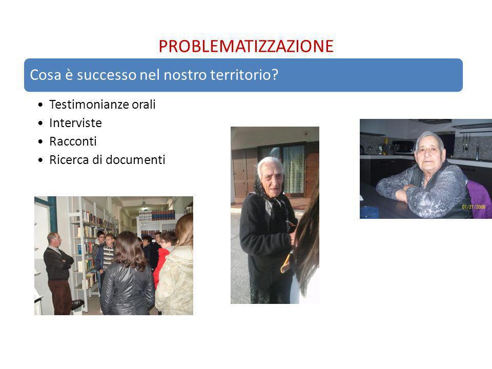 PROBLEMATIZZAZIONE Cosa è successo nel nostro territorio? Testimonianze orali Interviste Racconti Ricerca di documenti
